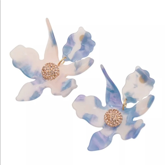 Jewelry - New blue clear resin flower statement earrings